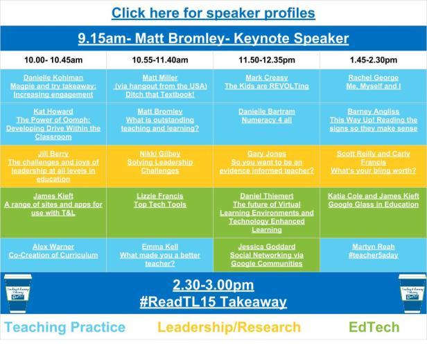 #ReadTL15 Schedule